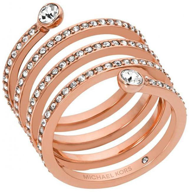 Michael Kors Pozlacený ocelový prsten s krystaly MKJ4724791 54 mm