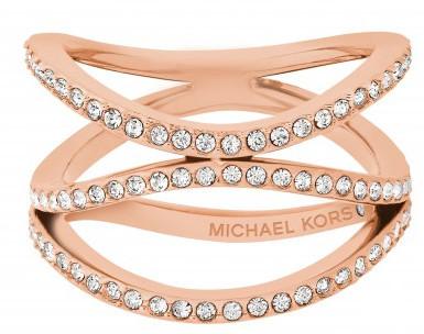 Michael Kors Inel de oțel placat cu aur, cu cristale MKJ6640791 57 mm