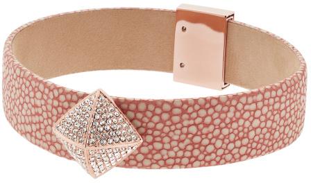 Michael Kors Růžový kožený náramek s pyramidou MKJ5229791