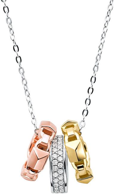 Michael Kors Strieborný náhrdelník s tricolor prívesky MKC1142AN998 (retiazka, prívesok)