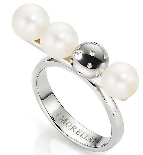 Morellato Oceľový prsteň s perlami Luna SADX13