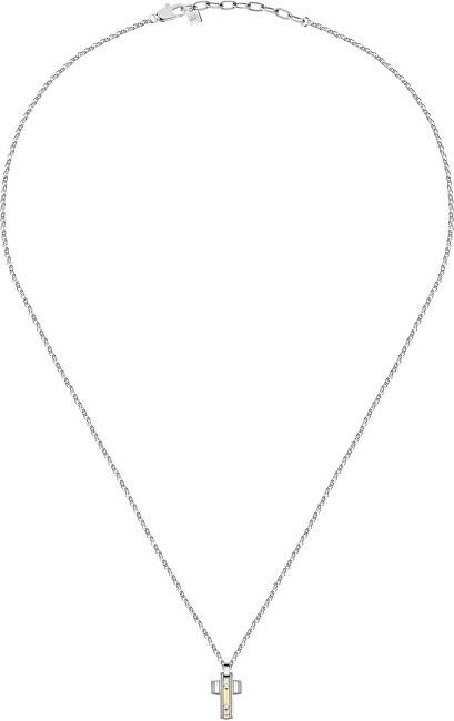 Morellato Pánsky oceľový náhrdelník Krížik Gold SATM02