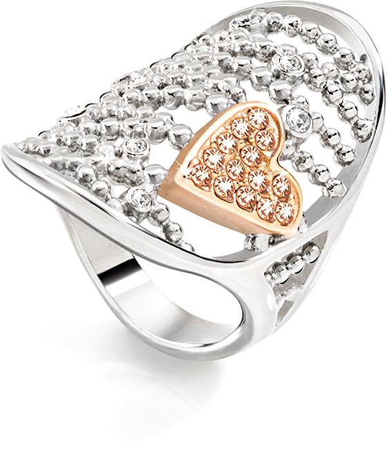 Morellato Ocelový bicolor prsten Cuoremio SADA09 52 mm