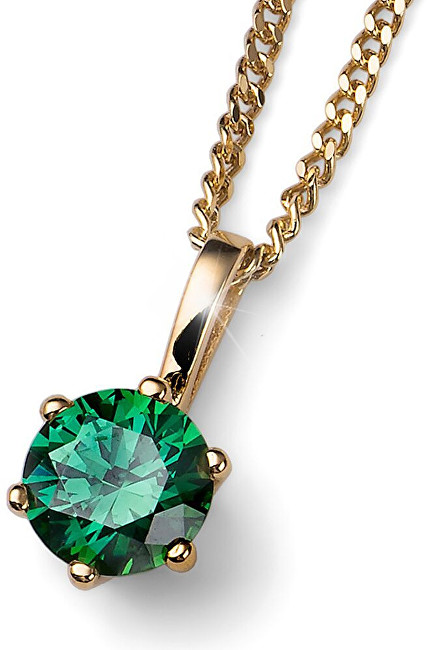 Oliver Weber Pozlátený strieborný náhrdelník s kryštálom Brilliance 61125G GRE (retiazka, prívesok)