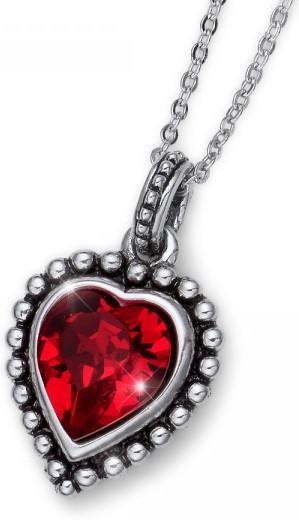 Oliver Weber Romantický náhrdelník s červeným krystalem Beach Antique Heart 11731 227