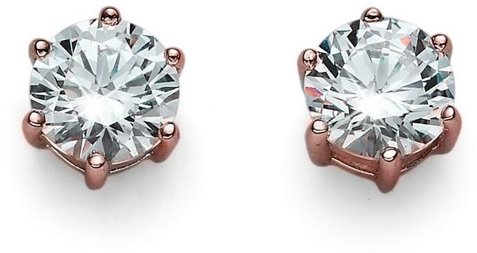 Oliver Weber Růžově pozlacené náušnice ze stříbra s krystaly Brilliance 62066RG 001