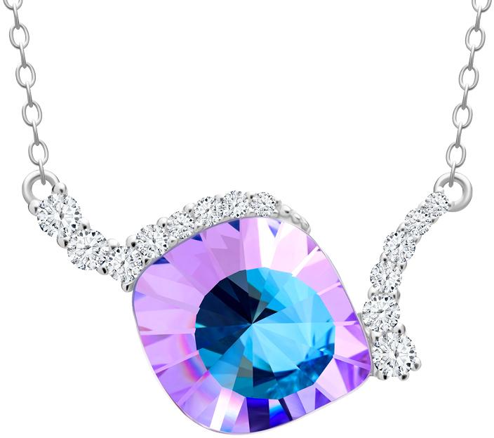 Preciosa Jedinečný stříbrný náhrdelník Pavo Vitrail Light 6118 43