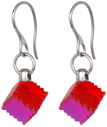 Preciosa Ocelové náušnice s červeným krystalem Jaclyn 7263 57