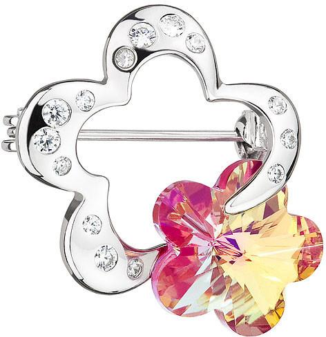 Preciosa Stříbrná brož Crystal Flower Fuchsia 6726 55