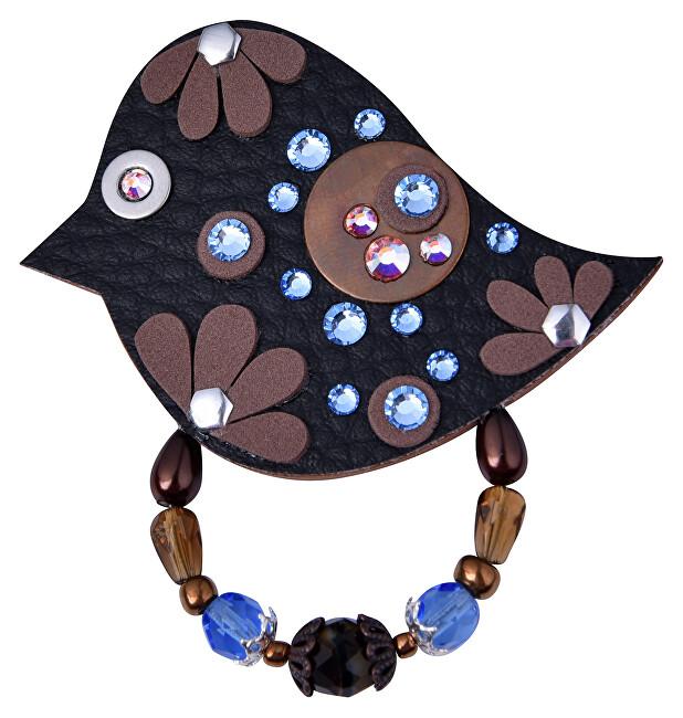 Petra Švarcová Černá brož s modrými kamínky Pták