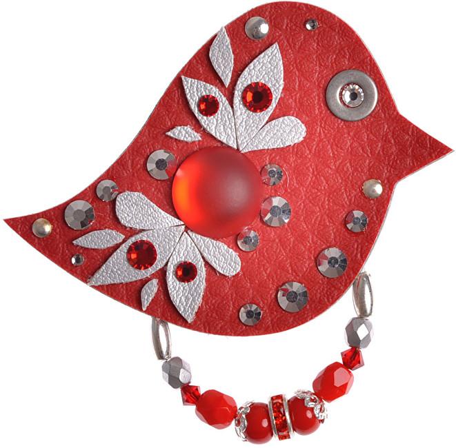 Petra Švarcová Red Brooch Bird