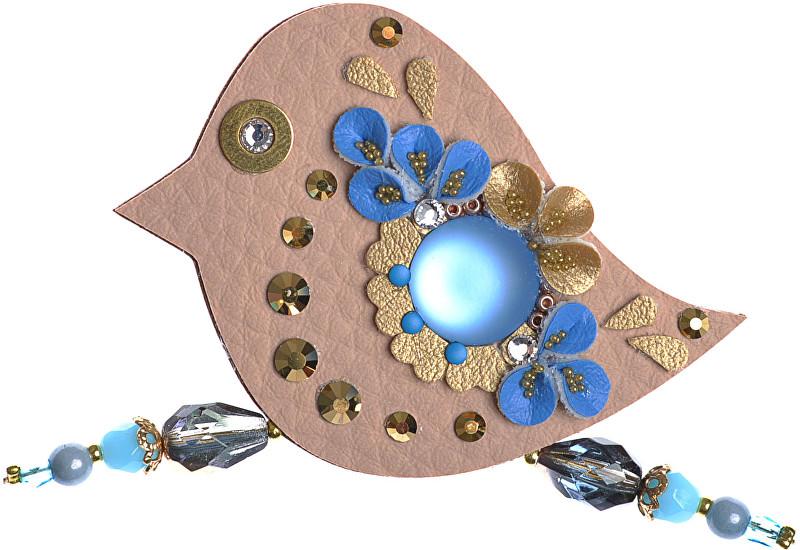 Petra Švarcová Broșă maro cu pietre albastre Bird