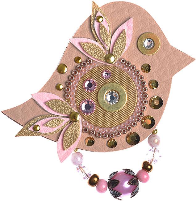 Petra Švarcová Hnědá brož s růžovými detaily Pták