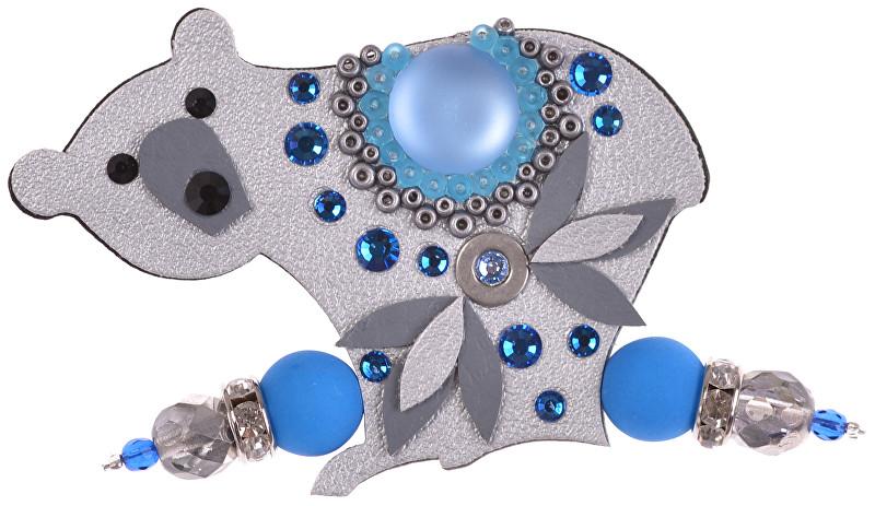 Petra Švarcová Stříbrná brož s modrým kamenem Lední medvěd
