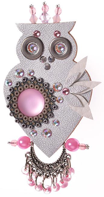 Petra Švarcová Stříbrná brož s růžovými korálky Sova
