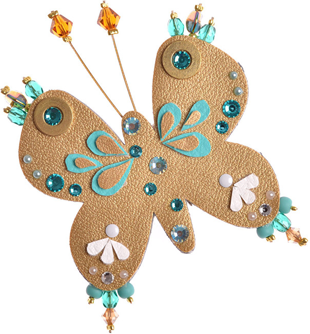 Petra Švarcová Broșă de aur cu margele fluture