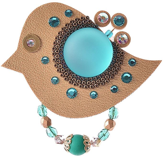 Petra Švarcová Zlatá brož se zelenými krystaly Pták