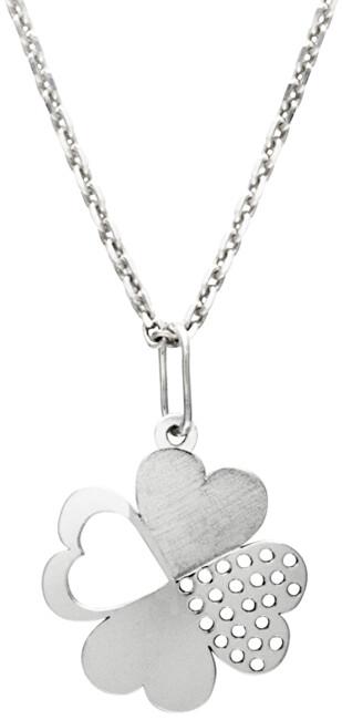 Praqia Krásny strieborný náhrdelník Štvorlístok KO1430m_MO040_50_RH (retiazka, prívesok)