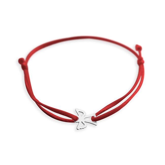 Praqia Šňůrkový červený kabala náramek Andělíček KA6164