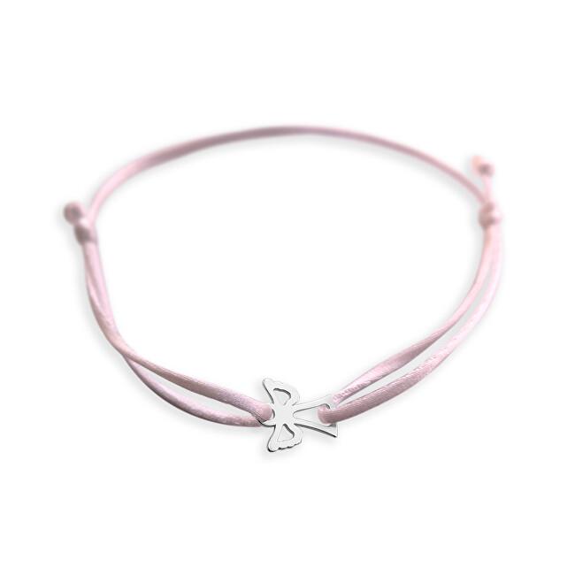 Praqia Šňůrkový růžový kabala náramek Andělíček KA6165
