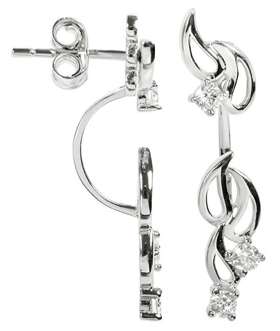 Silver Cat Dvojité stříbrné náušnice se zirkony SC229