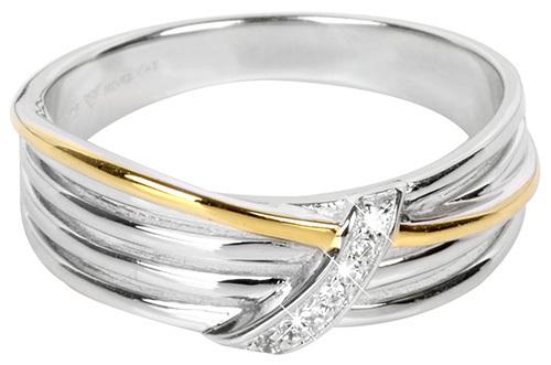 Silver Cat Pozlátený strieborný prsteň so zirkónmi SC189 58 mm