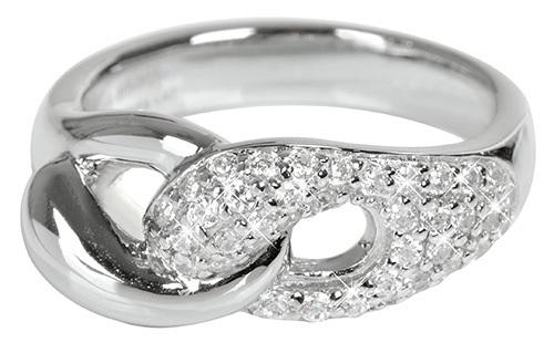 Silver Cat Prepletený strieborný prsteň so zirkónmi SC073 58 mm