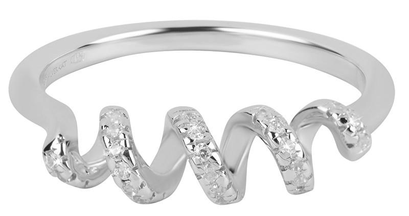Silver Cat Spirálový prsten se zirkony SC258 52 mm