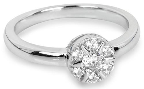 Silver Cat Strieborný prsteň Kvetina so zirkónmi SC206 58 mm