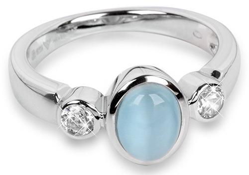 Silver Cat Stříbrný prsten s kočičím okem a zirkony SC171 54 mm