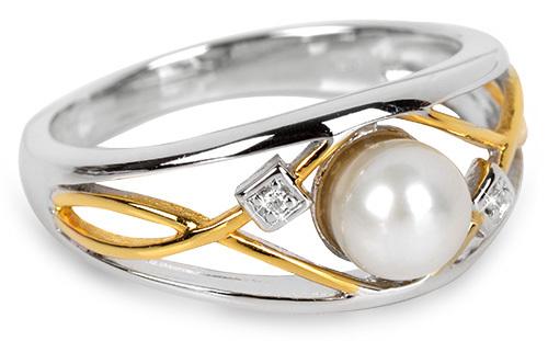 Silver Cat Inel argint cu perlă și cristal SC151 52 mm