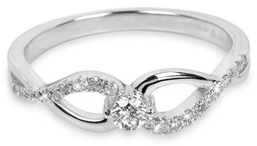 Silver Cat Strieborný prsteň so zirkónmi SC195 58 mm