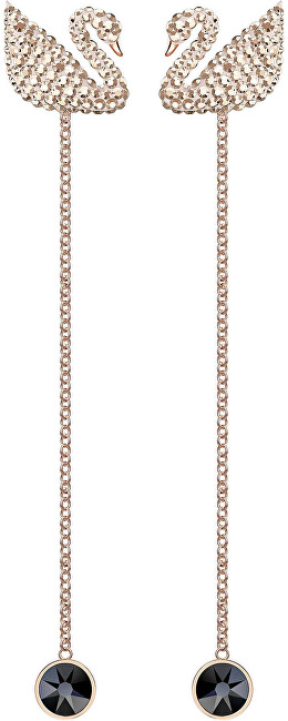 Swarovski Luxusné dvojité labutí náušnice SWAN 5373164