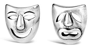 Silvego Stříbrné náušnice divadelní masky PRM11187
