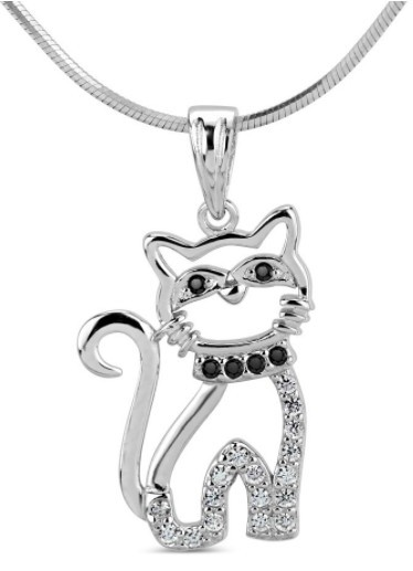 Fotografie Stříbrný přívěsek kočka s micro zirkony