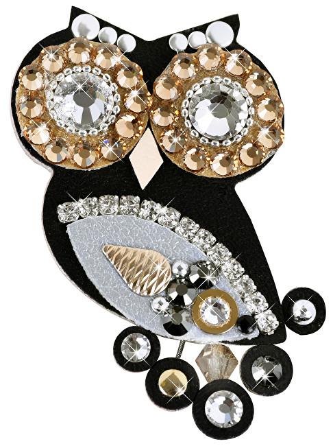 Sovičky Owl broșă mică negru-bicolor