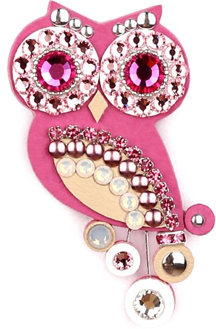 Sovičky Broșă mică model bufniță culoare roz