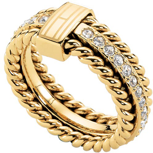Tommy Hilfiger Inel frumos placat cu aur cu cristale TH2700602 58 mm
