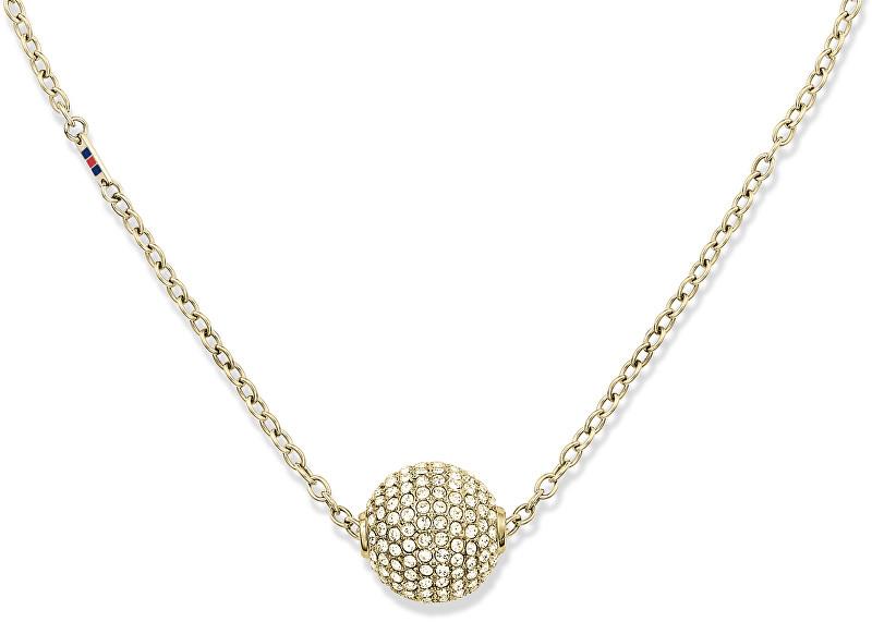 Tommy Hilfiger Zlatý náhrdelník Kulička s krystaly TH2700837