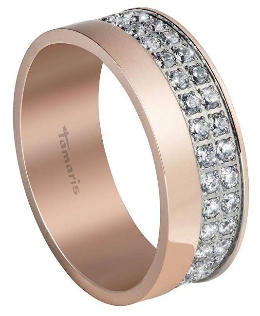 Tamaris Růžově zlacený prsten Patty se zirkony TJ054 54 mm
