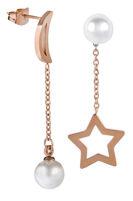 Troli Asymetrické náušnice s perličkami Hvězda a měsíc