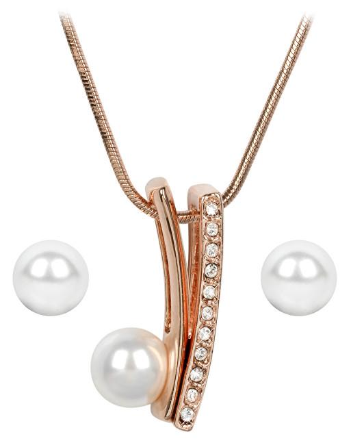 Troli Bronzová sada náušnic a náhrdelníku Pearl Vivien