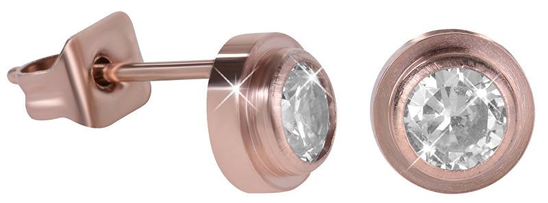 Troli bronzové oceľové náušnice kôstky s kryštálom KES-057 rose gold