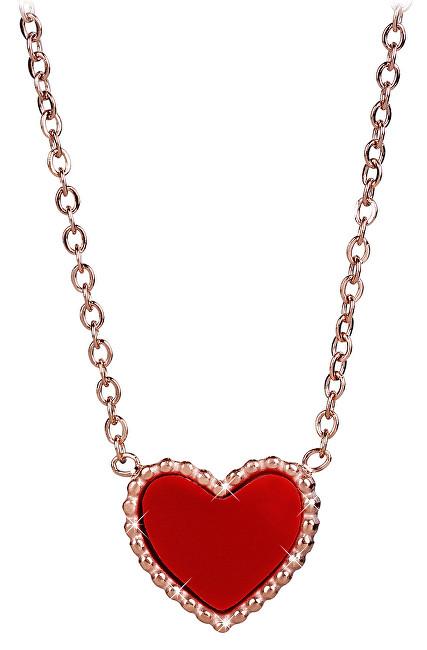 b75b69910aee Troli Bronzový náhrdelník s obojstranným srdiečkom (čierna-červená)