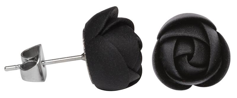 Troli Černé náušnice puzetky kytičky