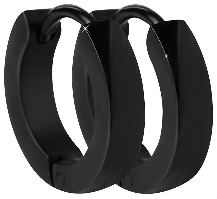 Troli Černé ocelové náušnice kroužky