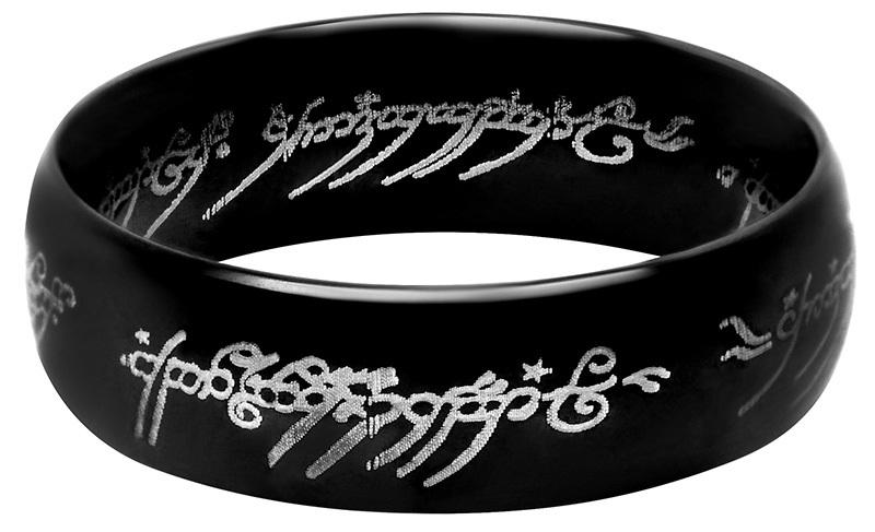 Troli Černý ocelový prsten moci z Pána prstenů 64 mm