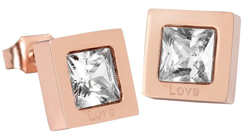Troli Čtvercové růžově pozlacené náušnice s krystalem KE-011