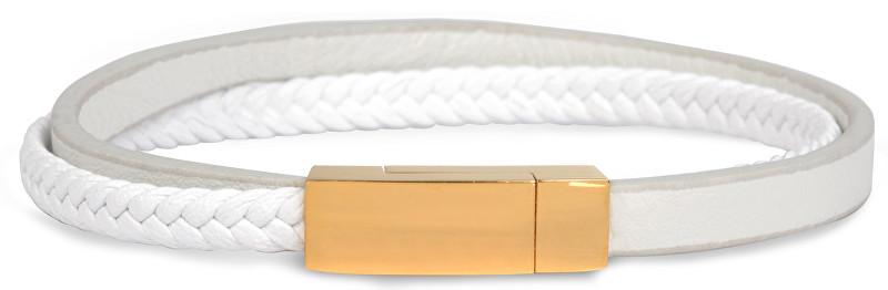 Troli Dámský kožený náramek se zlatou sponou Leather