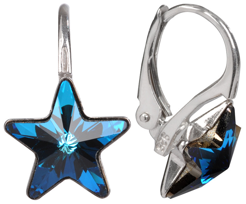 Troli Dívčí stříbrné náušnice Star 10 mm Bermuda Blue